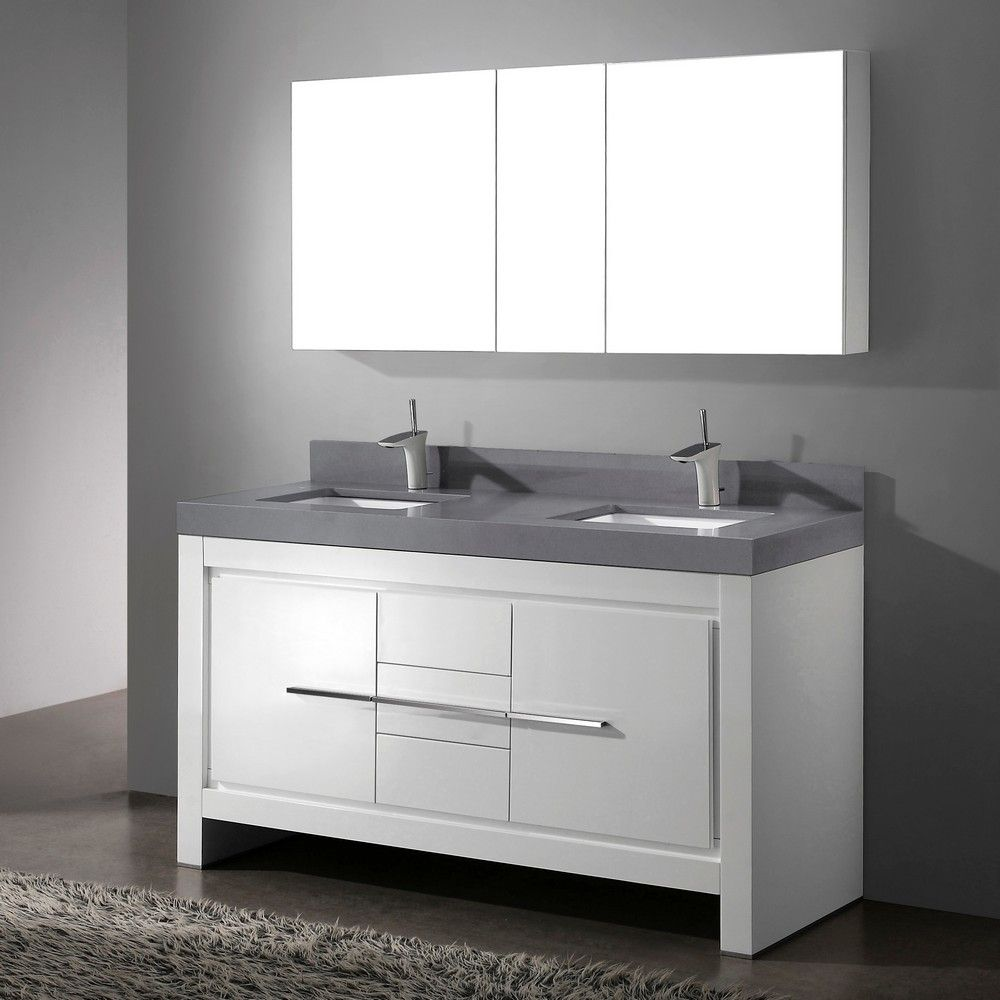 Vicenza Glossy White 60 Modern Double Sink Bathroom Vanity By