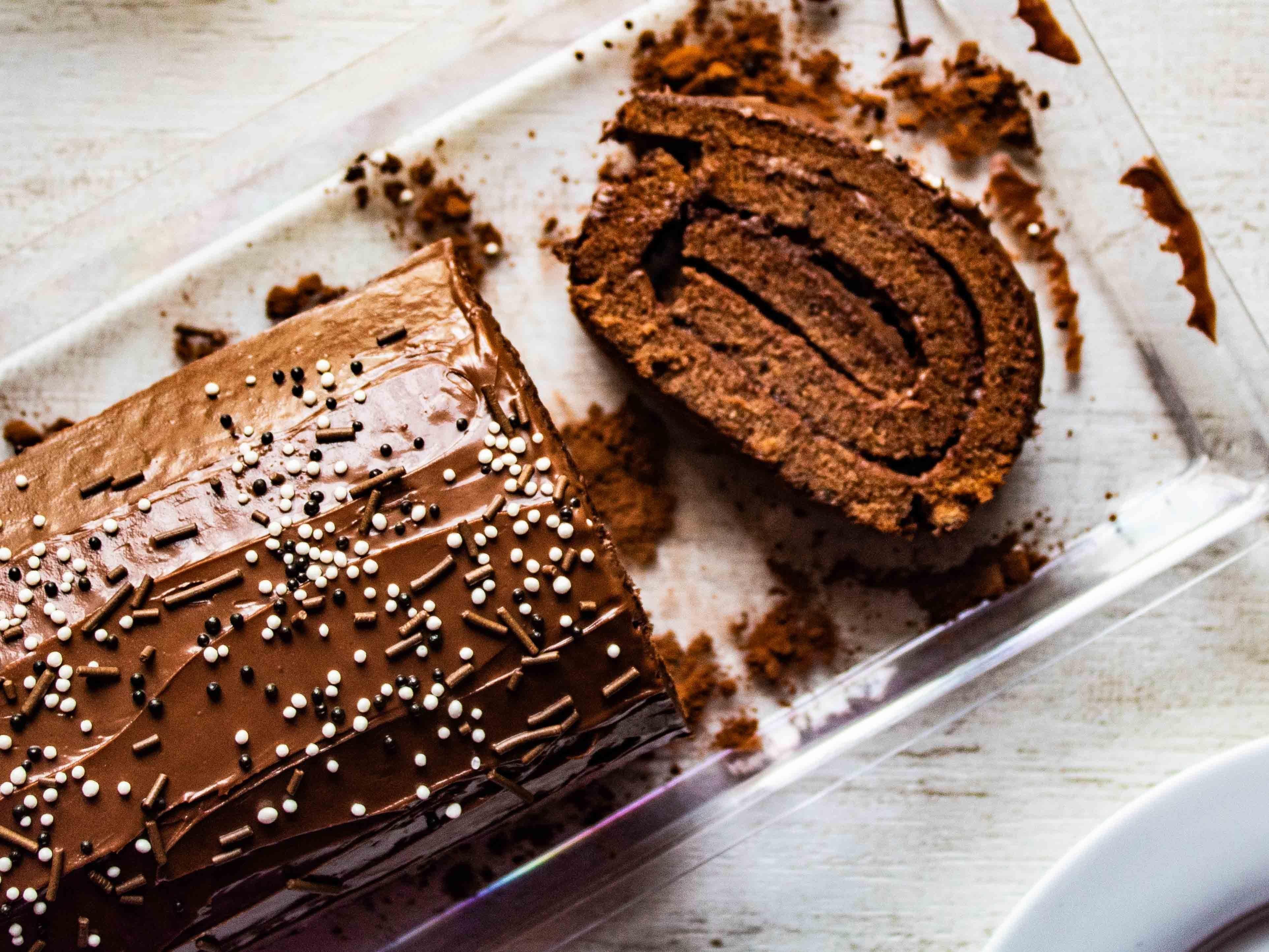 Gluten free chocolate hazelnut swiss roll nutella swiss