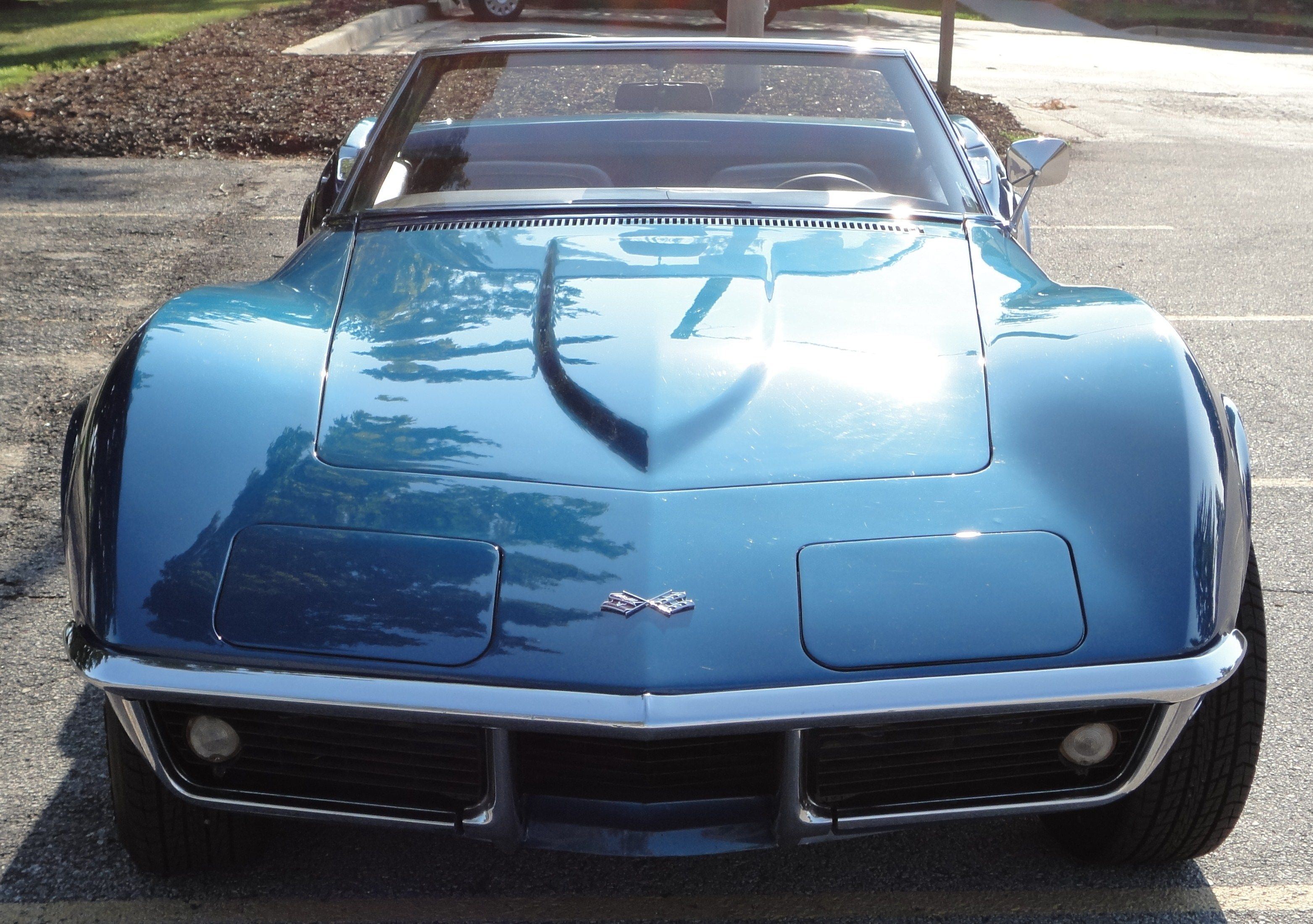 1968 Corvette Roadster 327 350hp Front View Blue Chevrolet Corvette Chevrolet Corvette Stingray Corvette Summer