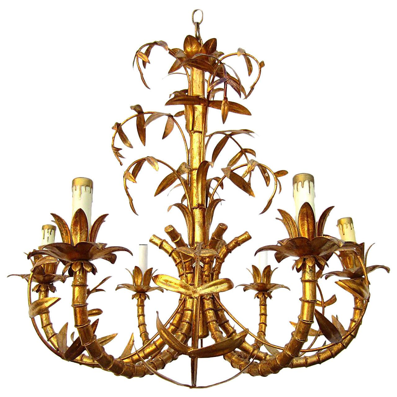 Hollywood regency gold gilded faux bamboo chandelier tole italy hollywood regency gold gilded faux bamboo chandelier tole italy 1950s arubaitofo Images