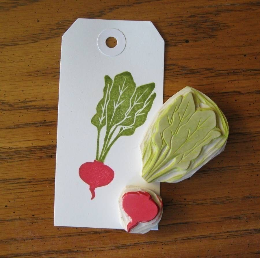 Hand carved little beet stamp diy ideas and
