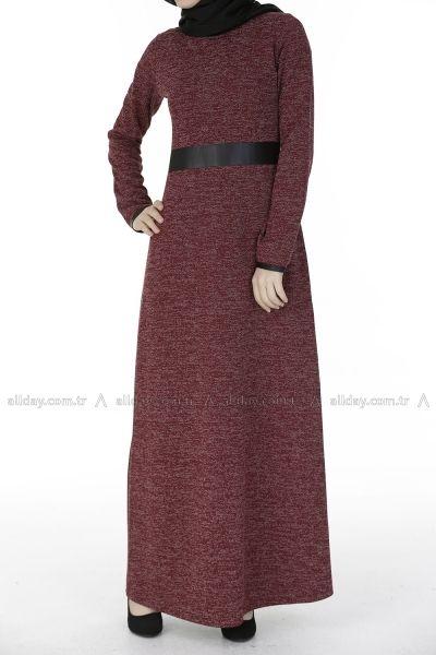 Bordo Triko Elbise 094 0574 Elbise Elbise Modelleri Giyim