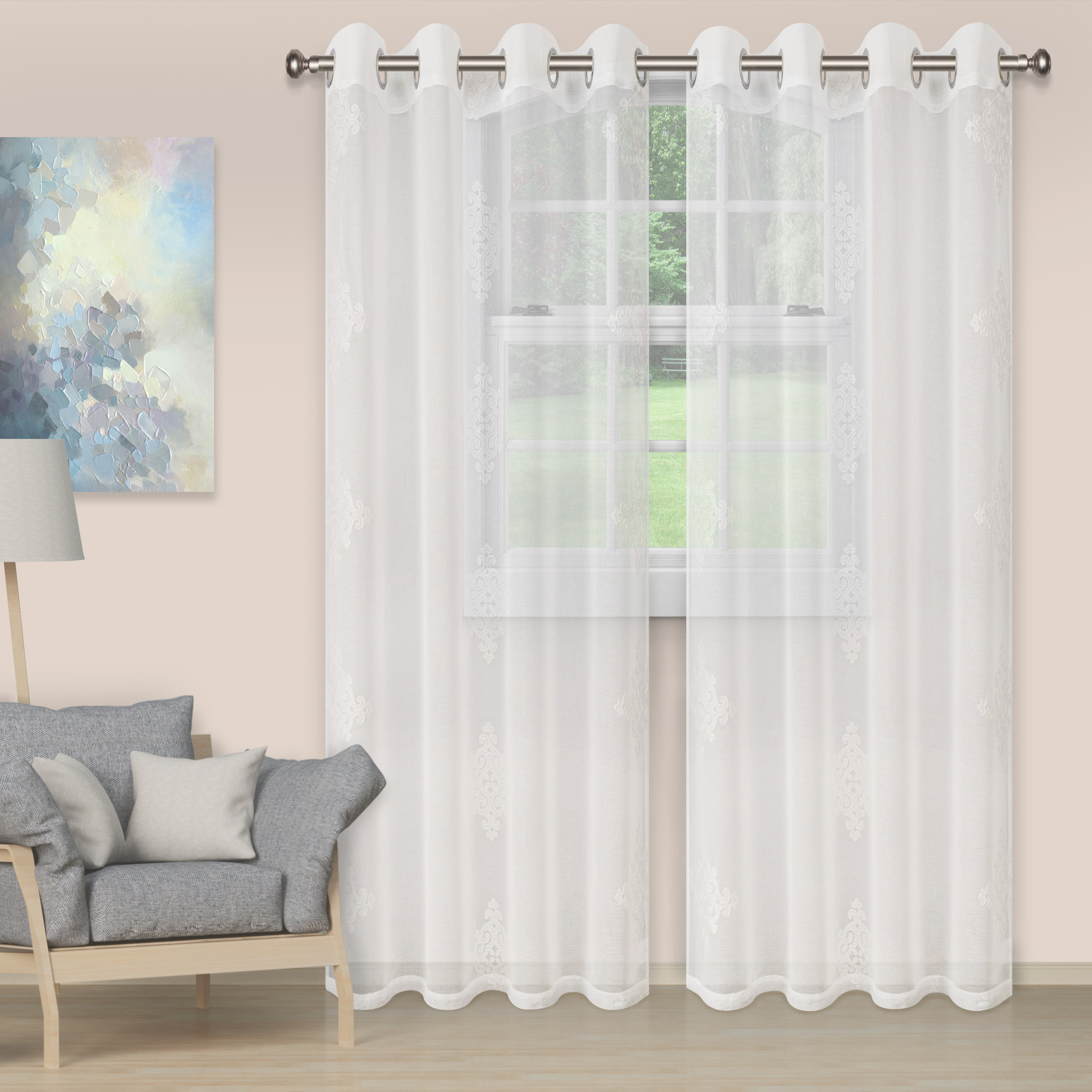Embroidered Curtain Panels Walmart