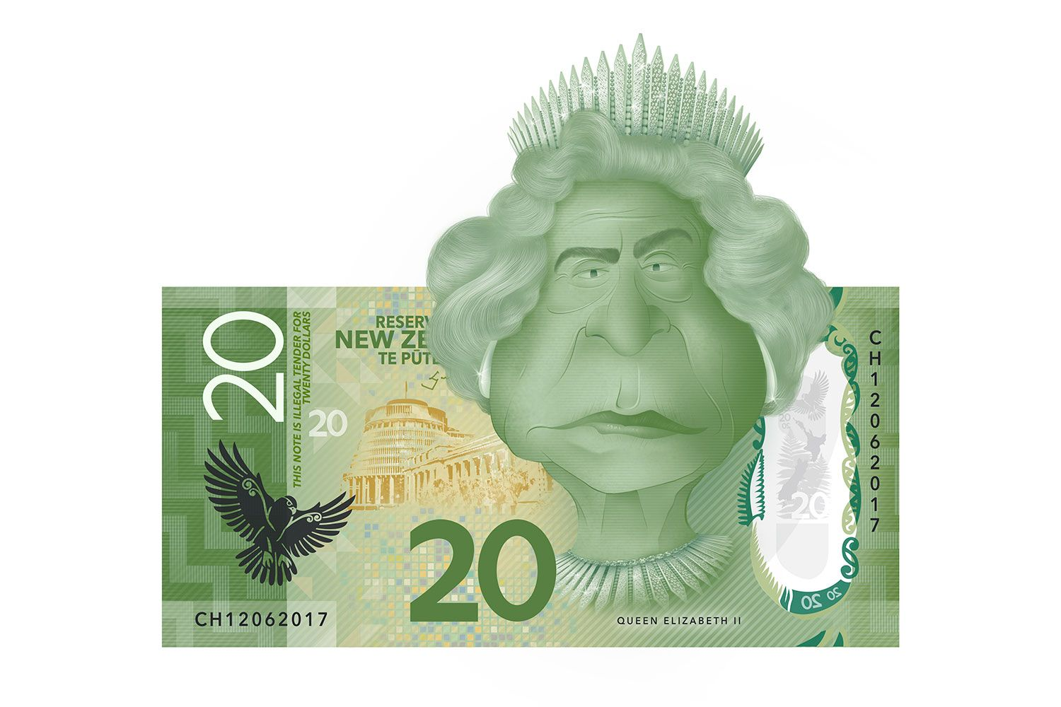 Queen Elizabeth II caricature on the $20 New Zealand bank note.  Illustration made in Photoshop  #graphic #illustration #caricature #photoshop
