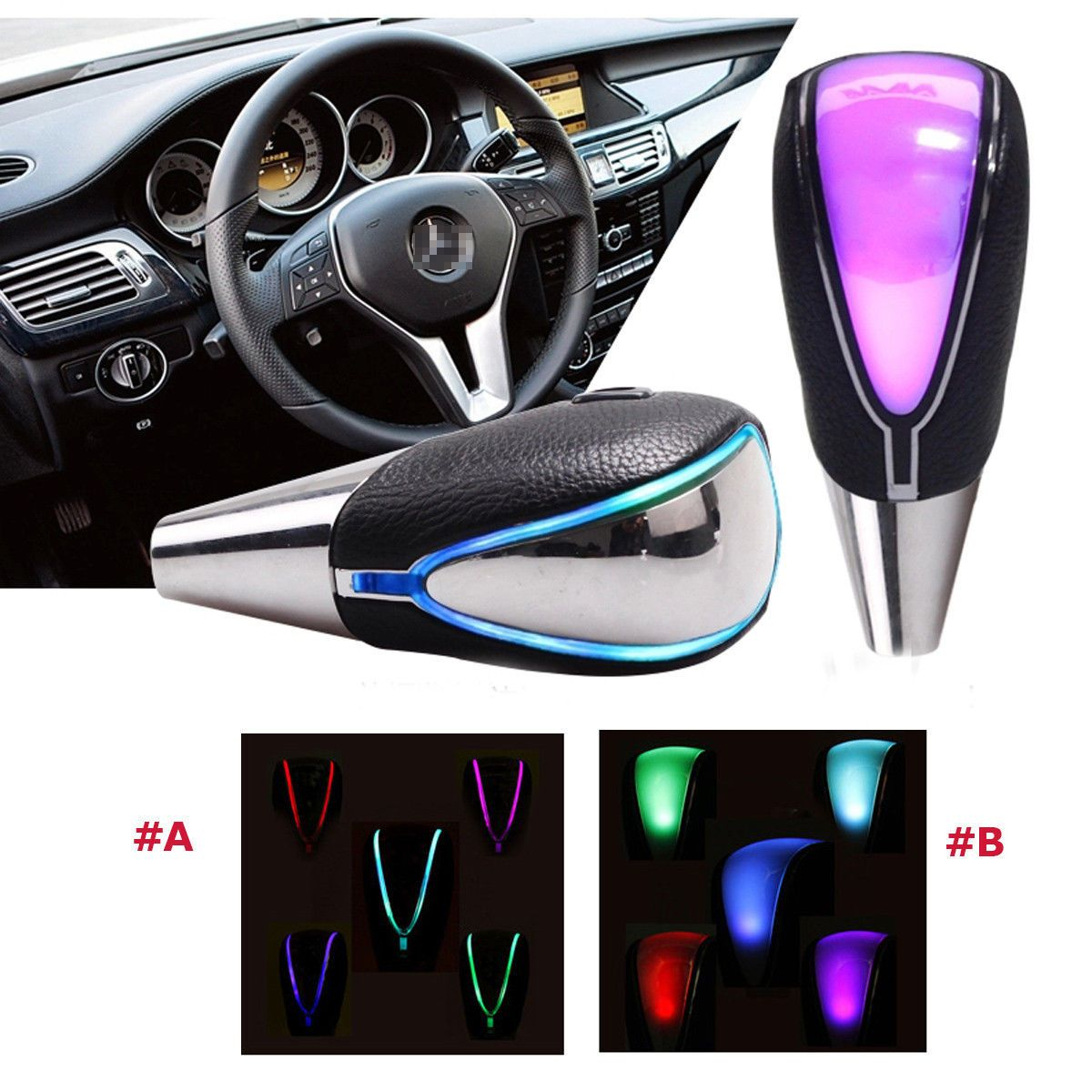 Touch Activated Ultra LED Light Car Gear Shift Knob &Cigarette ...