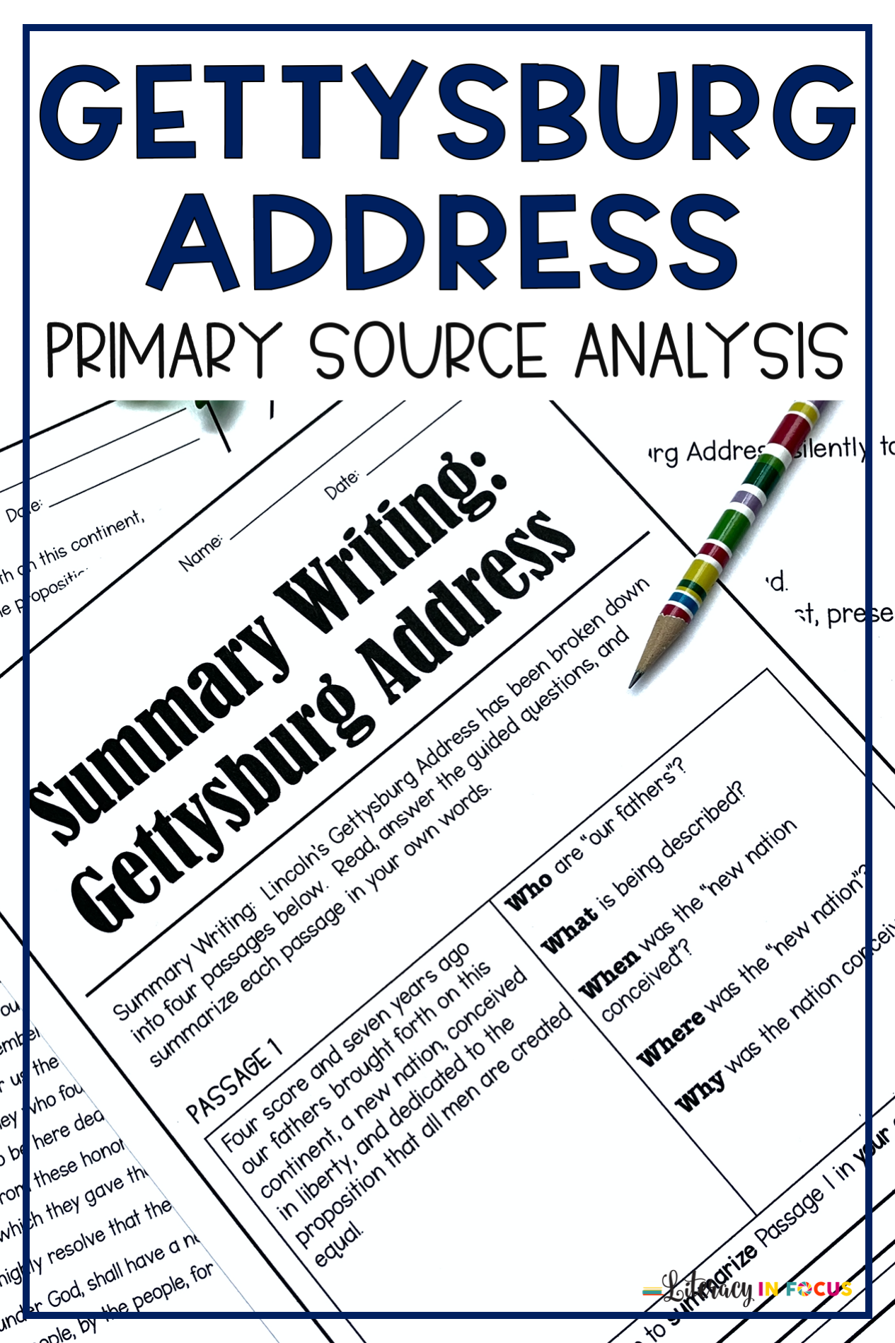 Gettysburg Address Printable And Digital Activities For