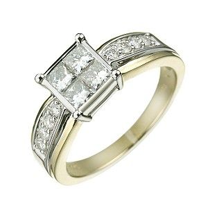 18ct gold one carat princess and brilliant cut diamond ring