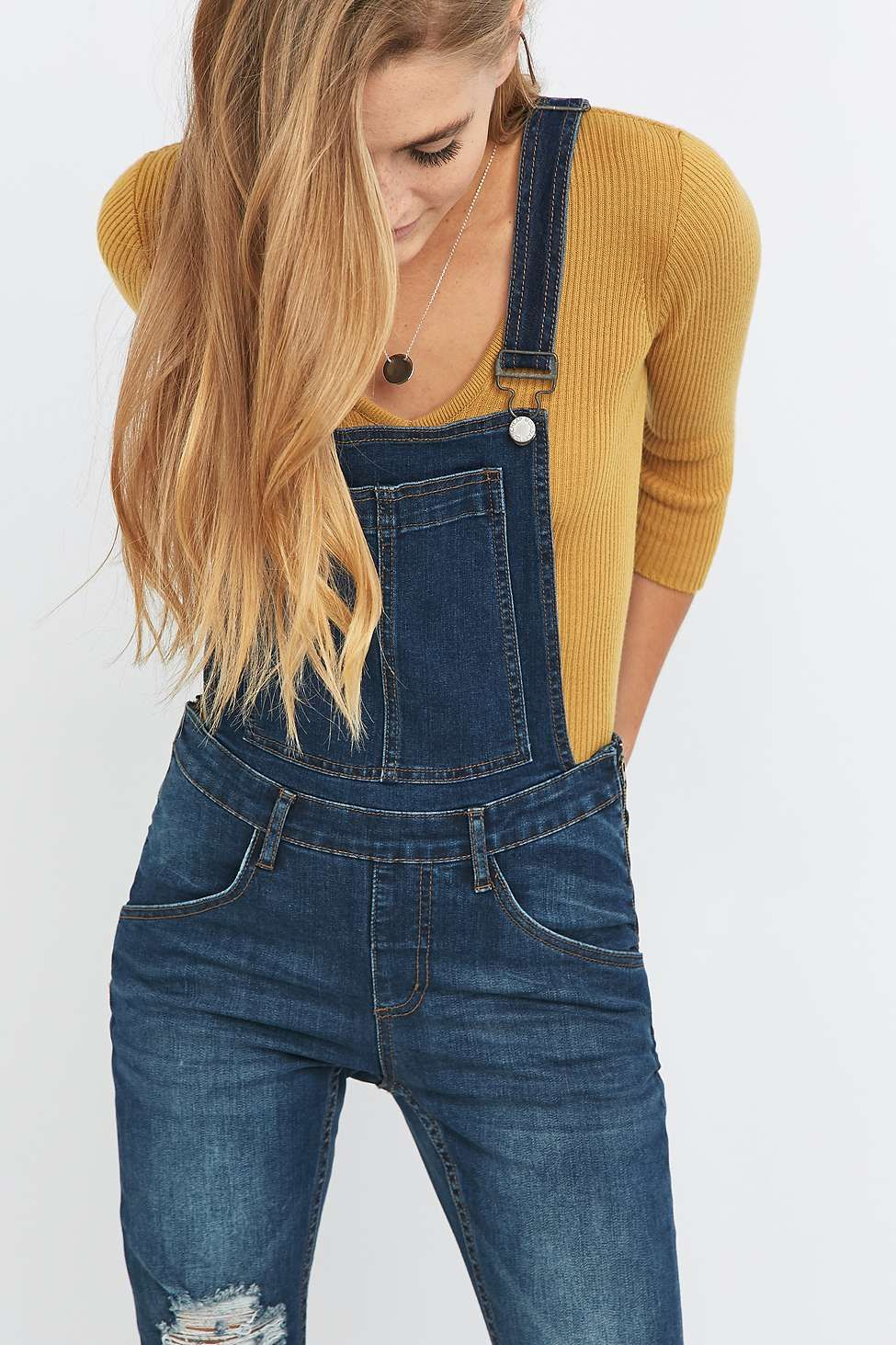 Cheap Monday Carbon Blue Ripped Dungarees