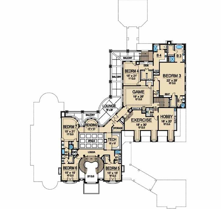 european style house plans - 15079 square foot home , 2 story, 7