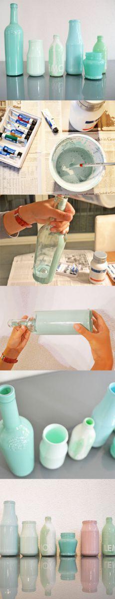 Flaschen zu Vasen färben mit Acrylfarbe- so einfach! basteln