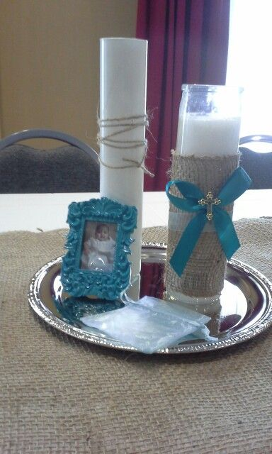 Baptism Centerpieces Flowers In The Bases Everything Was