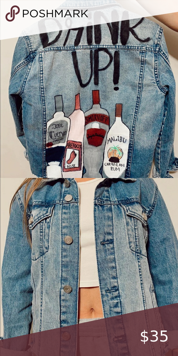 Cropped jean jacket Hand painted cropped jean jacket Jackets & Coats Jean Jackets