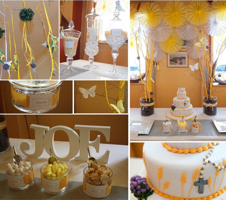 Buffet de dessert th me 1e communie pinterest - Decoration table communion fille ...