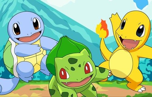 Squirtle, Bulbasaur y Charmander shiny