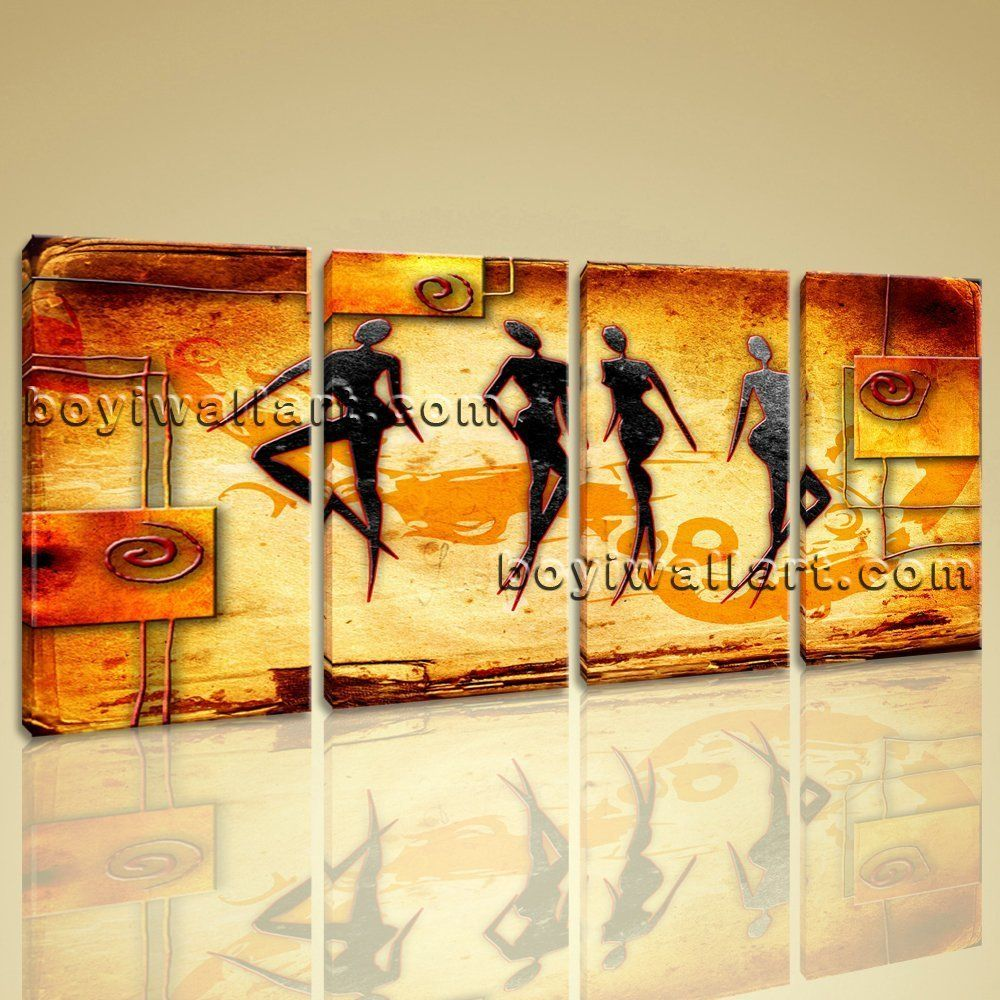 Large Vintage African Ethnic Figure Contemporary Canvas Print Wall ...