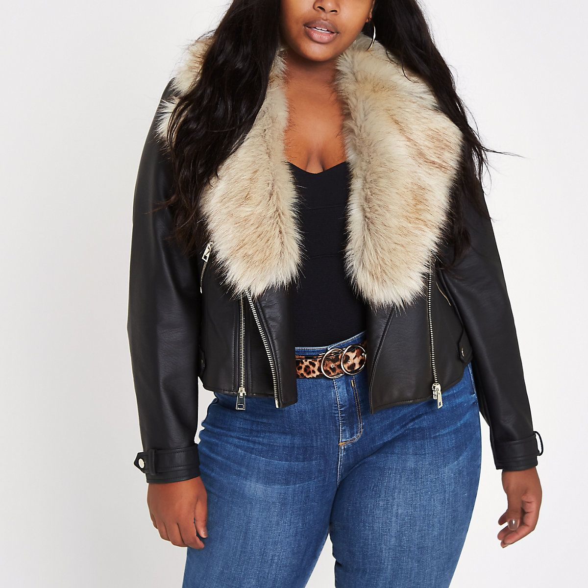Plus black faux fur collar biker jacket Black faux fur