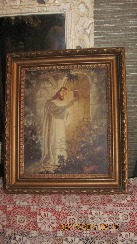 Vtg 1942 Antique Art Deco Look Gold Gesso Framed Jesus Knocking At ...