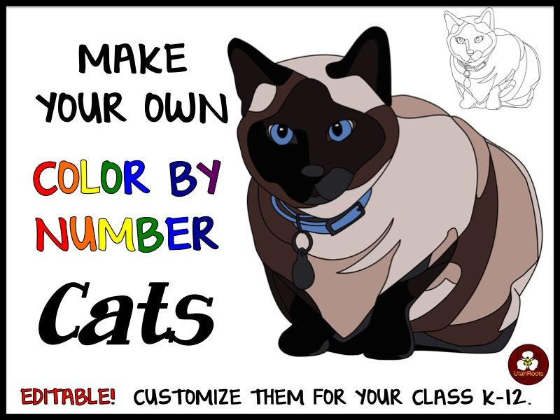 Make Your Own Color By Number Cats (Editable) | Number activities ...
