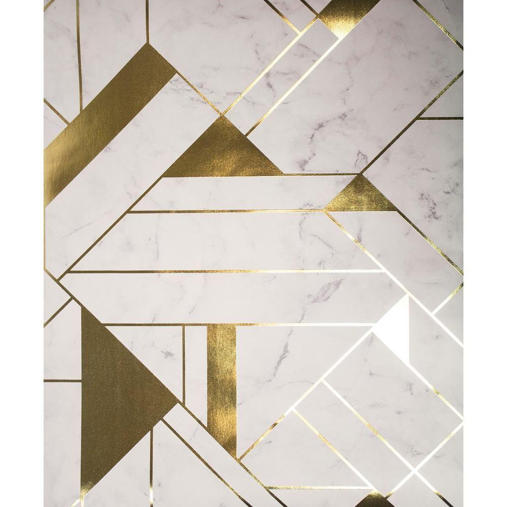 Advantage Gulliver OffWhite Marble Geometric Wallpaper