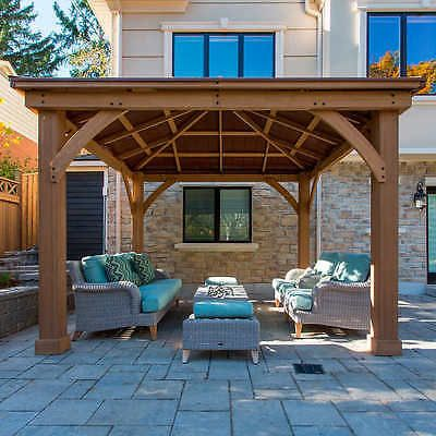 Cedar Wood 12 X 12 Gazebo With Aluminum Roof By Yardistry Outdoor Pavillion Patio Outdoor Pergola