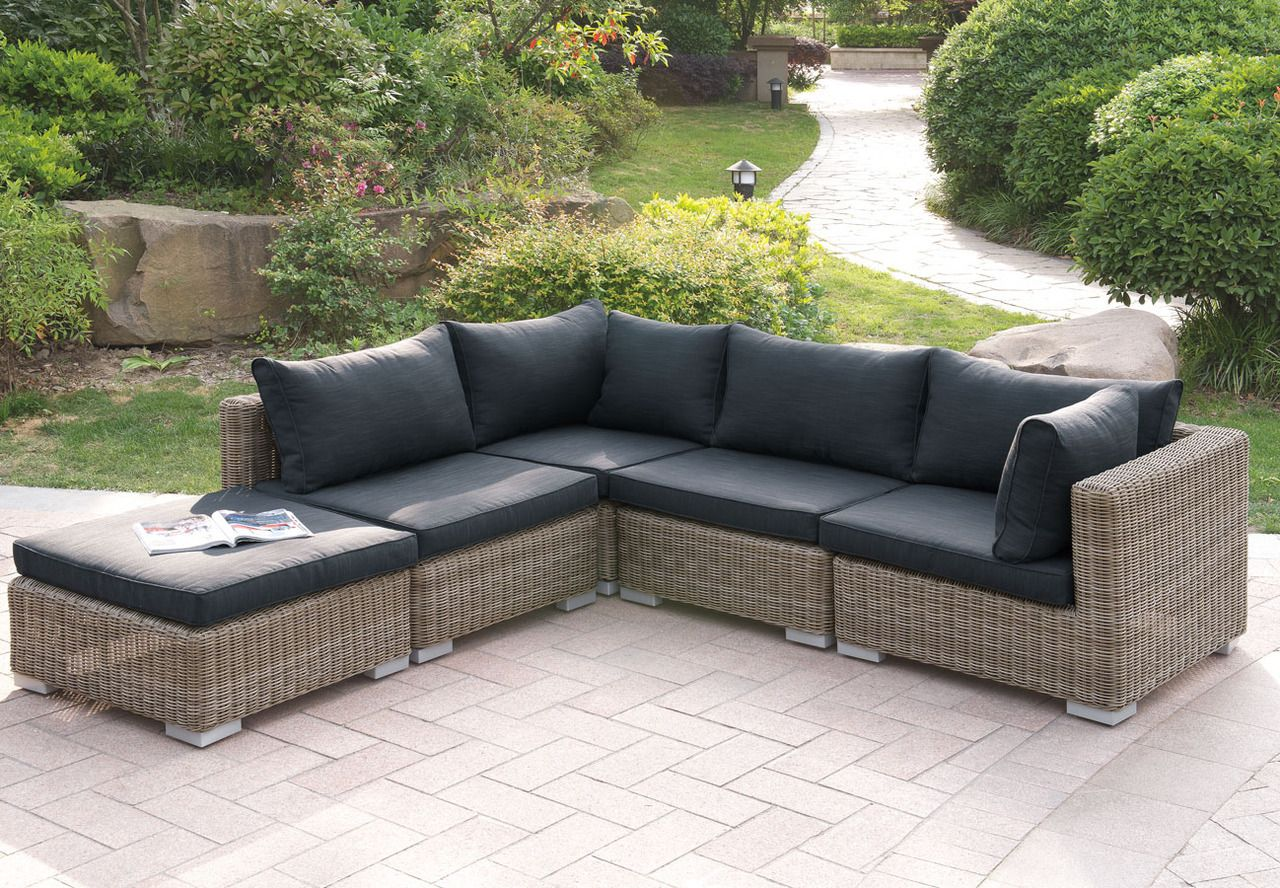Lizkona 417 Outdoor Patio 5 Pcs Sectional Sofa Set By Poundex In