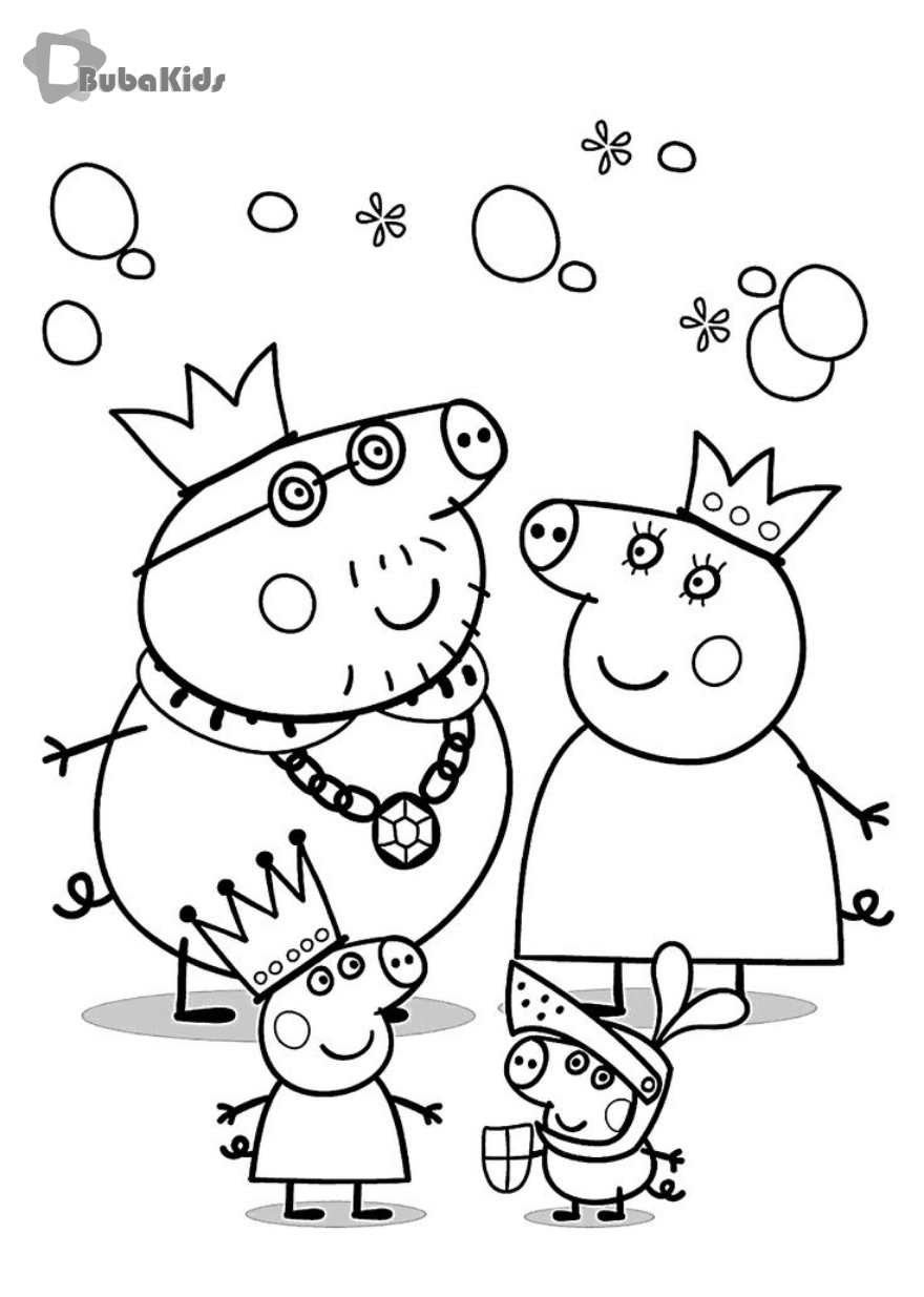 Peppa Pig Family Coloring Pages For Kids Printable Free Bubakids Com Coloring Free Kids Peppa Pig Coloring Pages Peppa Pig Colouring Family Coloring Pages