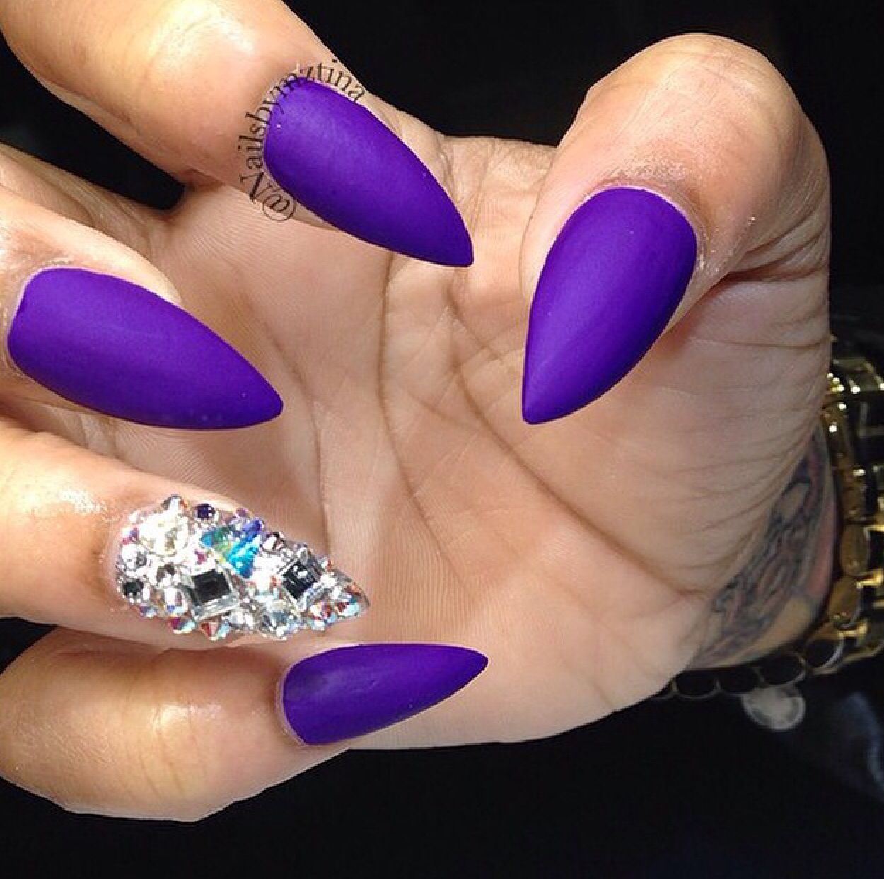 Purple matte rhinestone nails @nailsbymztina | Beauty | Pinterest ...