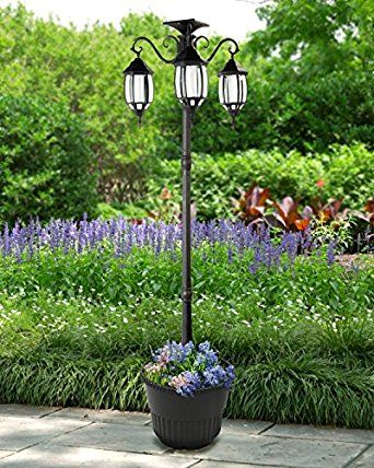 80 Tall Madison 3 Head Solar Lamp Post And Planter Super Bright