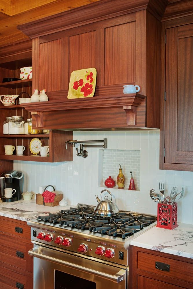 Stained Ribbon Sapele Mahogany Kitchen Cabinets