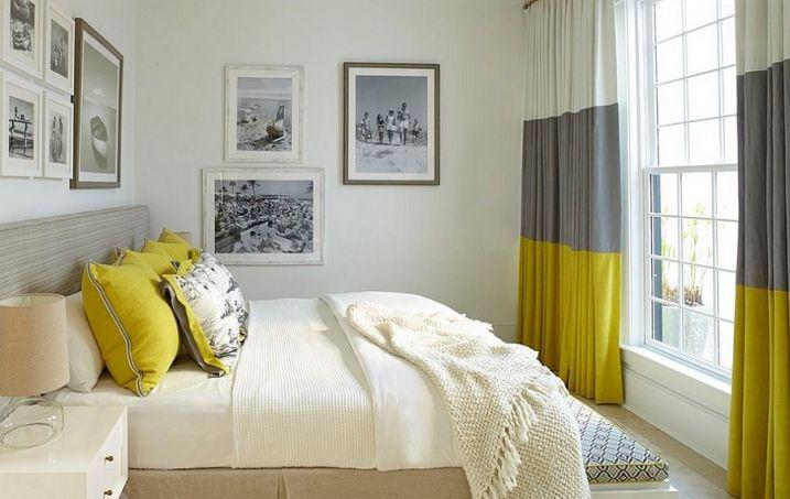 Idées Déco pour une chambre jaune et grise | Rideau chambre, Gris ...