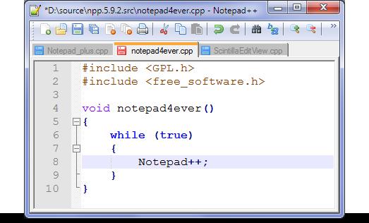 Notepad++ - Great code editor.