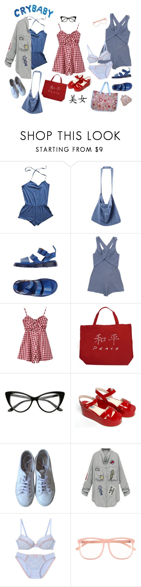 """""""i miss summer"""" by momoheart ❤ liked on Polyvore featuring American Apparel, Dr. Martens, Karen Walker, Chicnova Fashion, Los Angeles Pop Art, Prada, Superga and H&M"""