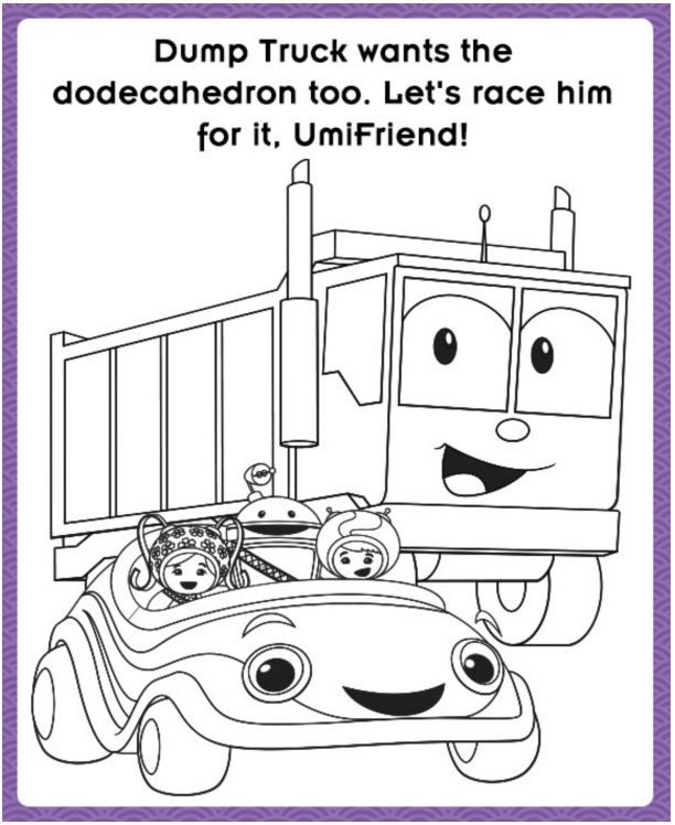 Print Out This Adorable Umicar And Dump Truck Coloring Page
