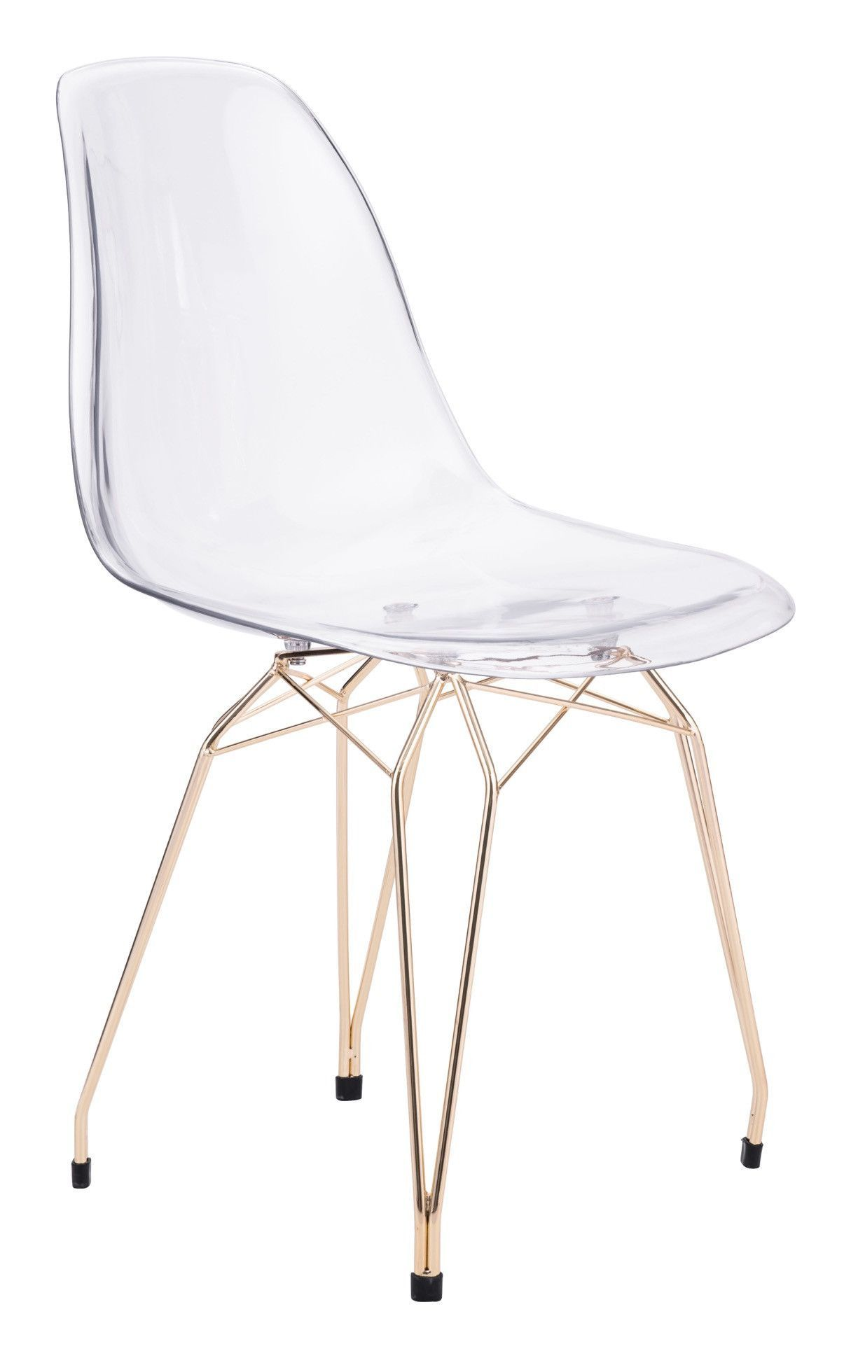 Shadow Dining Chair In In Transparent Polycarbonate On Gold Metal Legs (Set  Of 2)