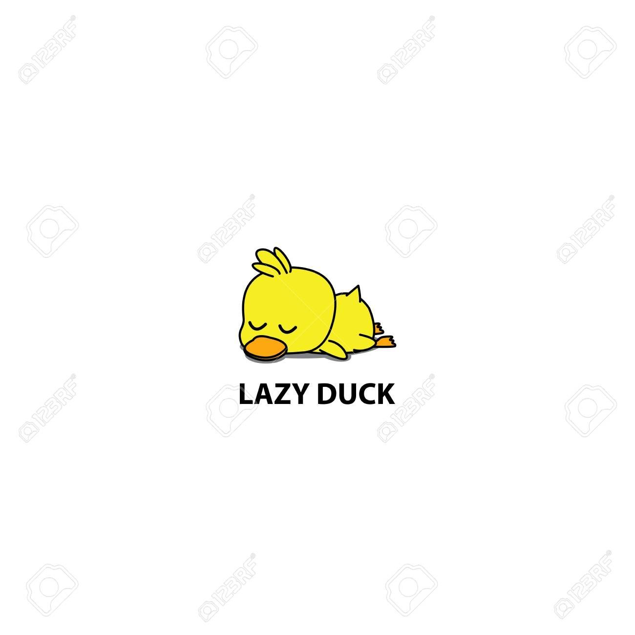 Lazy Duck Cute Duckling Sleeping Icon Logo Design Vector