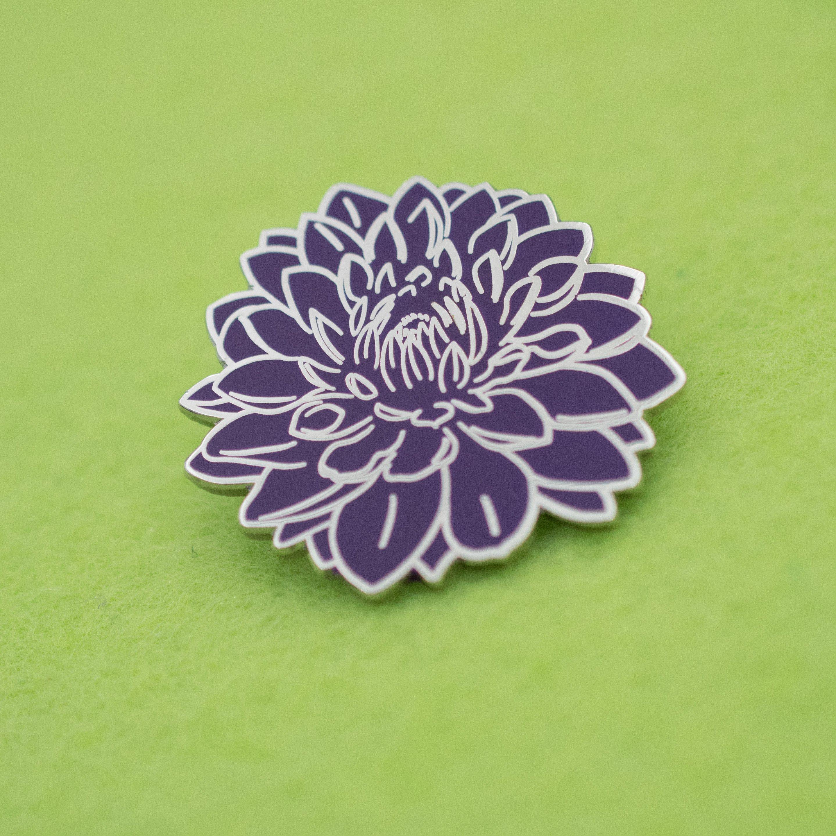 Dahlia Flower Hard Enamel Pin Pins Please Pinterest Dahlia