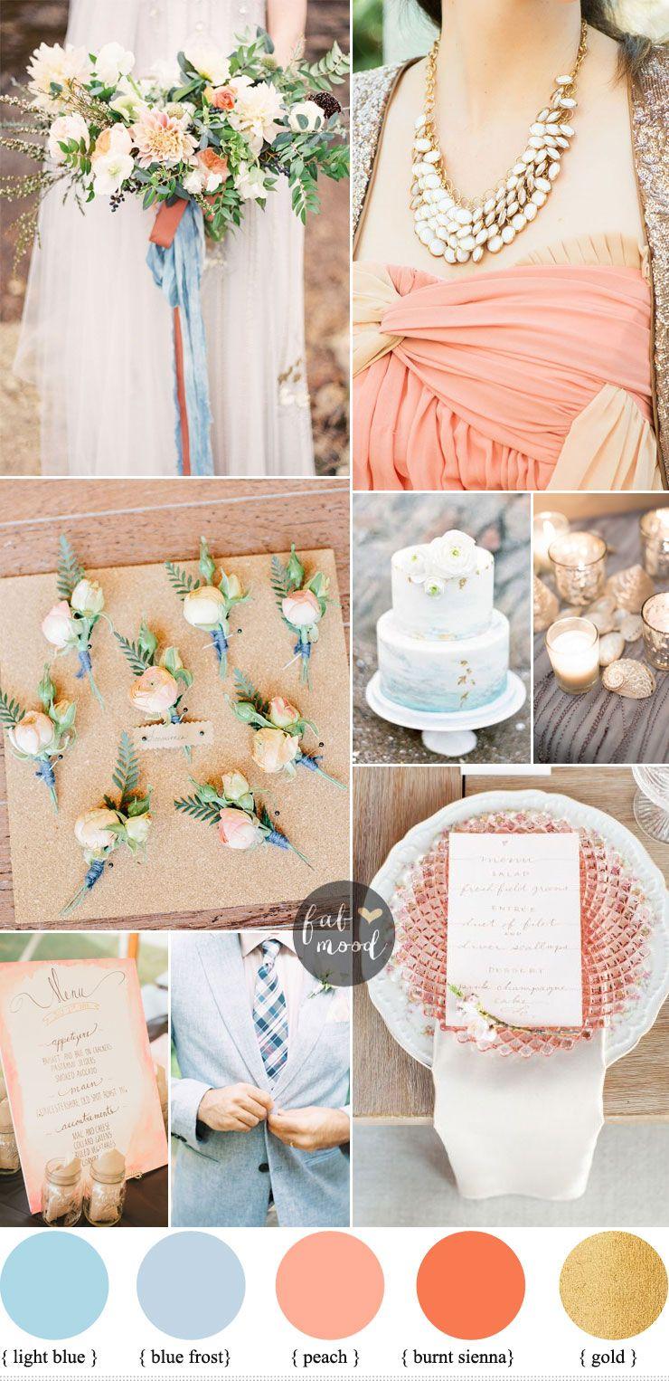 0c8bc1c0ec4 Beach wedding inspiration   Light blue   Peach + Jenny Packham ...
