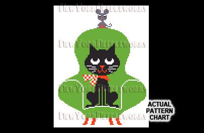 Retro Cat Cross Stitch Cat Silhouette Cat by NewYorkNeedleworks