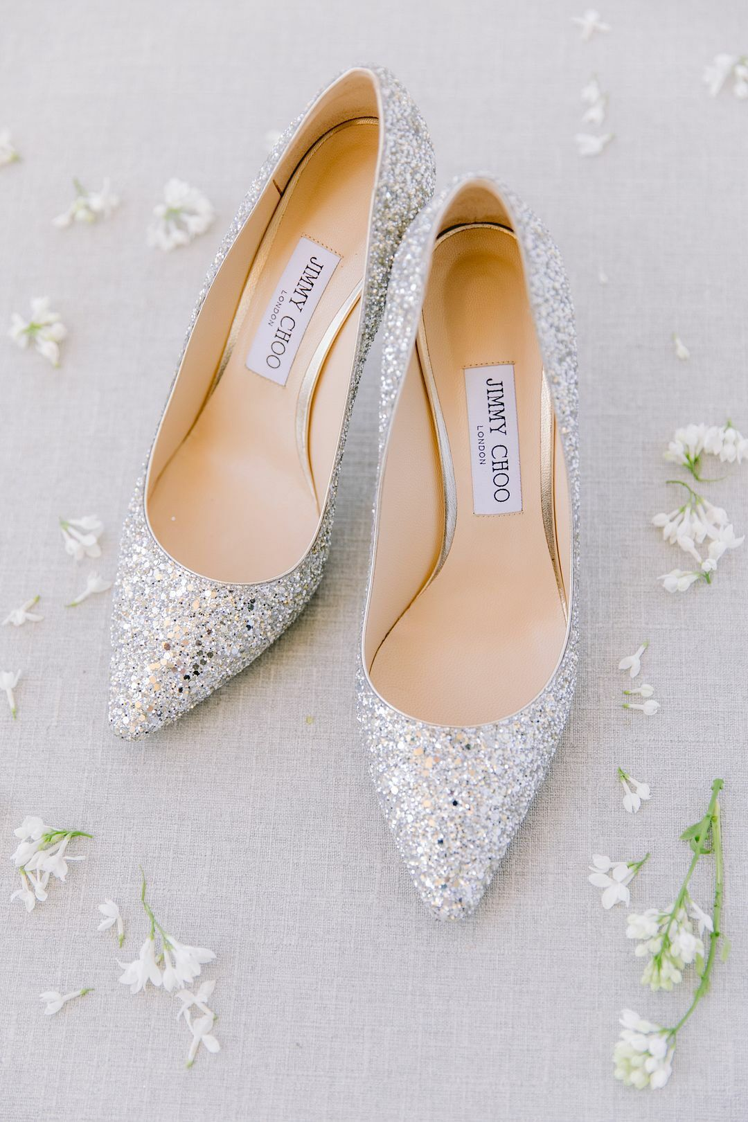 Glamorous Jimmy Choo Silver Bridal Heels With Sparkles Casual Wedding Shoes Wedding Shoes Bridal Heels