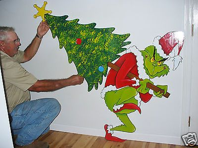 Grinch stealing the christmas tree christmas yard art decoration 28'' x 20'' - Grinch Stealing The Christmas Tree Christmas Yard Art Decoration 28