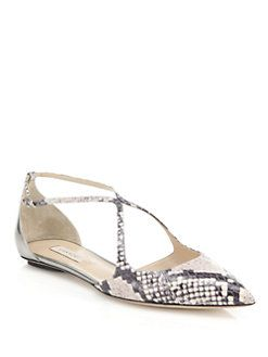 Casadei - Python-Embossed Leather Crisscross Point-Toe Flats
