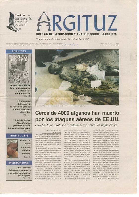 Boletín de información y análisis sobre la guerra.  1 de febrero de 2.002,con 16 páginas y gratuito.