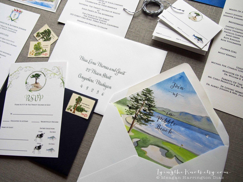 Custom Wedding Invitations - Watercolor Wedding Suite - Pebble Beach ...