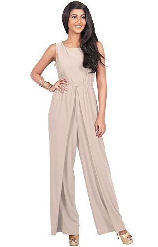 f89a2c30403 KOH KOH Women s Sleeveless Slimming Flared Pantsuit One Piece Jumpsuit  Romper - X-Large - Light Brown