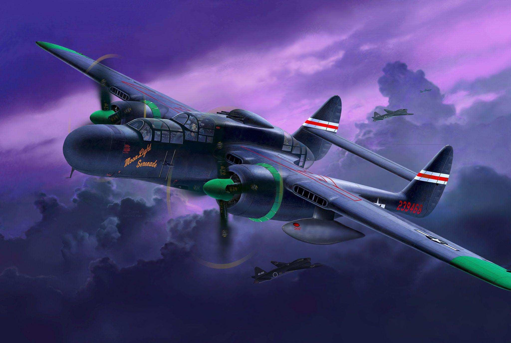 Обои p-61, ww2, black widow, painting, истребитель, P-61 black widow, aircraft art. Авиация foto 8