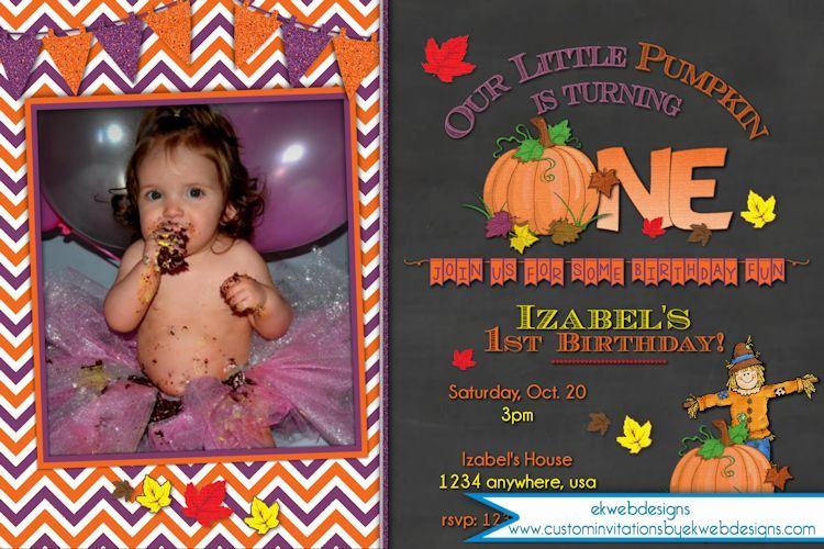 our pumpkin first birthday invitation is perfect for fall or for a halloween birthday party brown purple orange and green colors accent your favorite