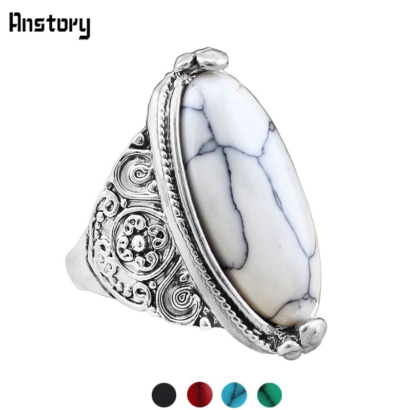 Fashion Jewelry Vintage Look Tibetan Alloy Antique Silver Plated Personality White Oval Turquoise Ring TR362