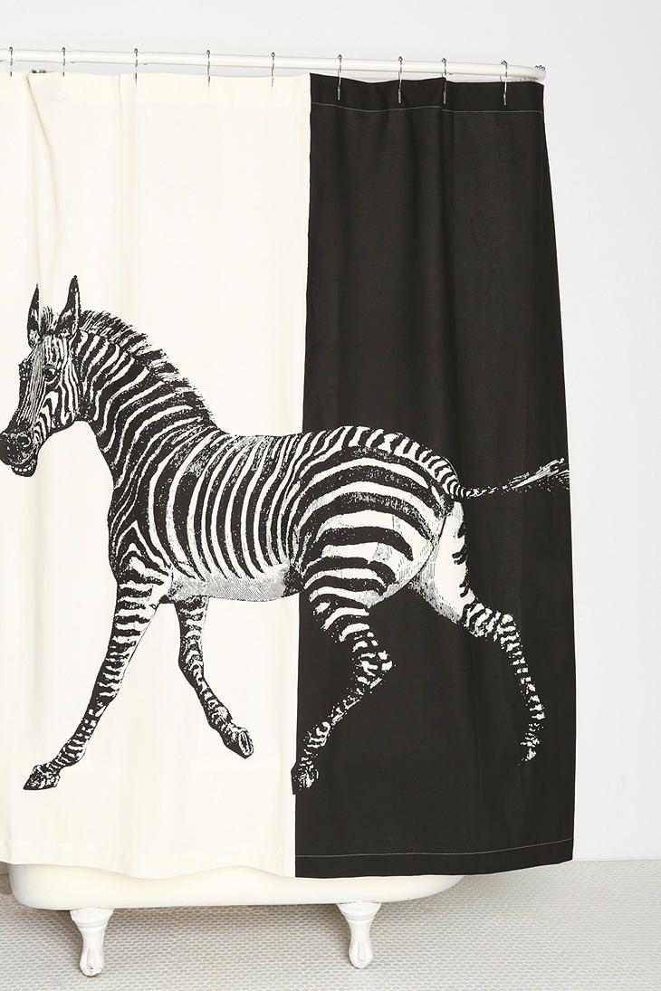 Rococco La Zebra Shower Curtain Stil Svart Hvitt Og Moderne