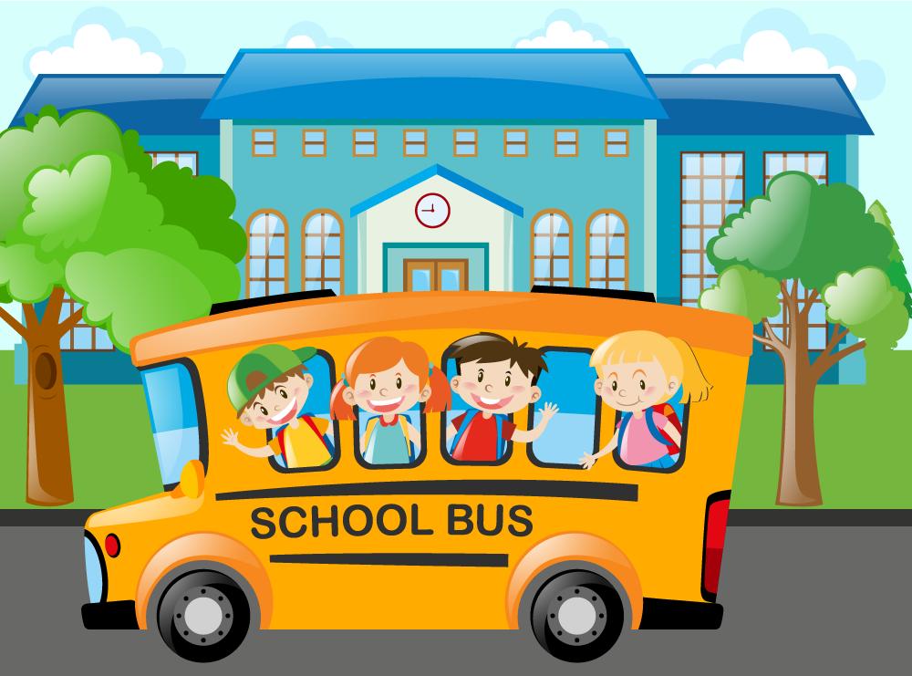 Escolares En Autobus Escolar Vector Autobus Escolar Ninos Escuela Dibujos Escolares