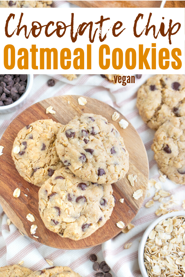 Vegan Chocolate Chip Oatmeal Cookies Plant Well Recipe In 2020 Oatmeal Chocolate Chip Cookies Vegan Peanut Butter Cookies Vegan Cookies Recipes